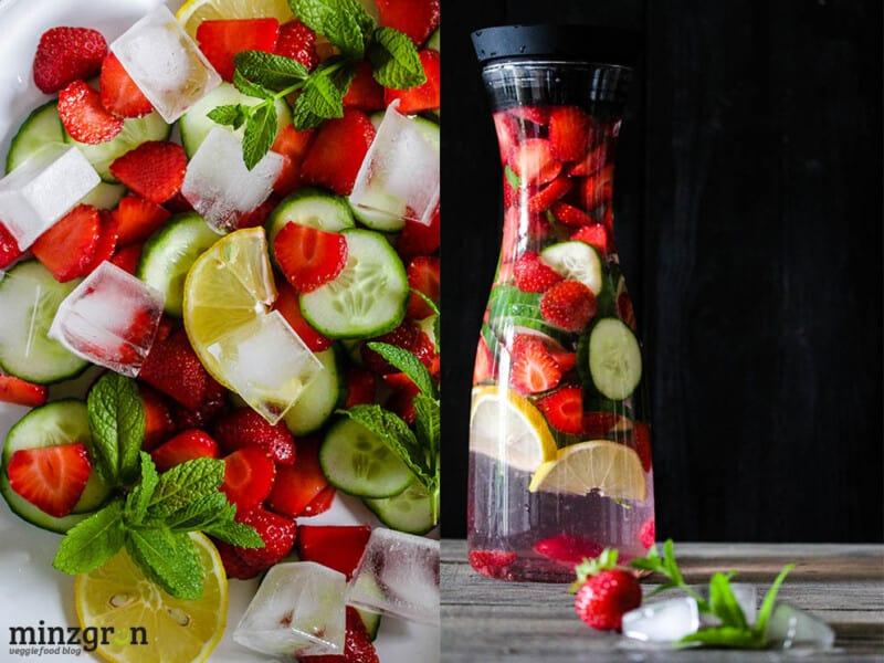 Erdbeer-Gurken-Minzwasser